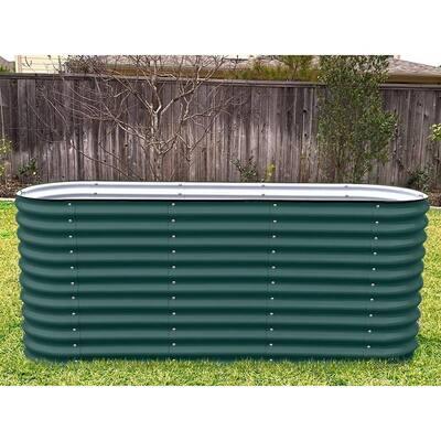 32 in. Extra-Tall 6-In-1 Modular British Green Metal Raised Garden Bed Kit