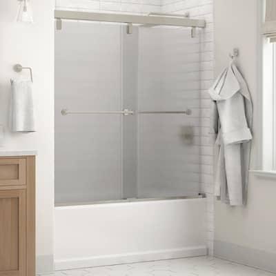 Crestfield 60 in. x 59-1/4 in. Mod Semi-Frameless Sliding Bathtub Door in Nickel and 1/4 in. (6mm) Rain Glass