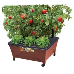 24.5 in. x 20.5 in. Patio Raised Garden Bed Grow Box Kit with Watering System and Casters in Terra Cotta