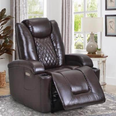 Luxurious Brown PU Power Recliner with USB Charge Port and Cup Holder