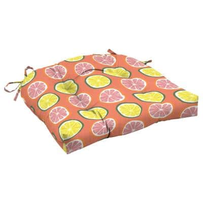 Watercolor Citrus Square Outdoor Wicker Chair Cushion
