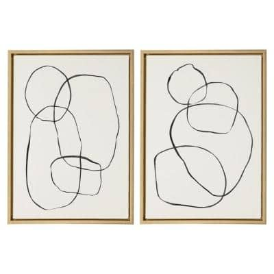 """Sylvie """"Modern Circles"""" by Teju Reval of Snazzyhues 24 in. x 18 in. Framed Canvas Wall Art Set"""