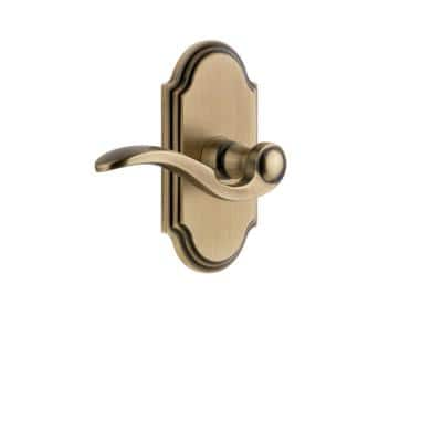 Arc Plate 2-3/8 in. Backset Vintage Brass Privacy Bed/Bath with Bellagio Door Lever