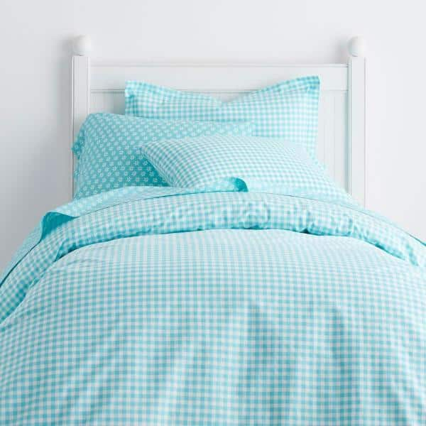 Cstudio Home By The Company Store Gingham Turquoise Cotton Percale Full Duvet Cover 30270d F Turquoise The Home Depot