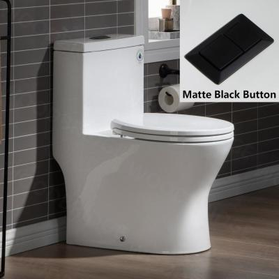 Reo 1-Piece 1.28 GPF High Efficiency Dual Flush Round All-In One Toilet in White with Soft Closed Seat Included