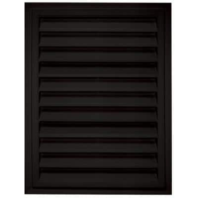 20.2 in. x 26.2 in. Rectangular Black Plastic UV Resistant Gable Louver Vent