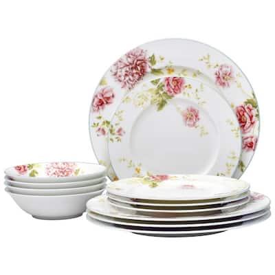 Peony Pageant White Bone China 12-Piece Dinnerware Set (Service for 4)