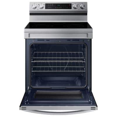 6.3 cu. ft. Smart Freestanding Electric Range with Rapid Boil and Self Clean in Stainless Steel