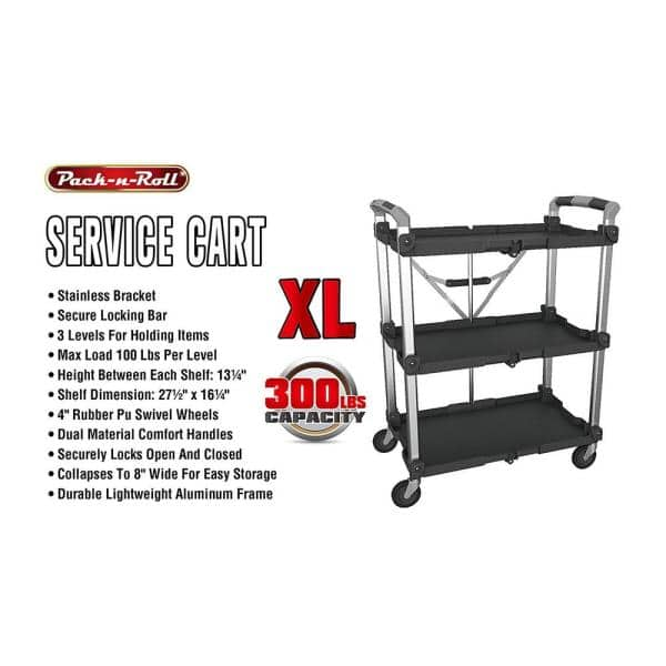 Pack N Roll 3 Shelf Collapsible 4 Wheeled Multi Purpose Xl Resin Utility Cart In Black Grey 85 189 The Home Depot