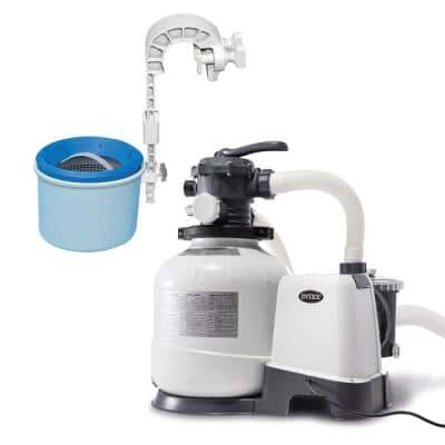 0 sq. ft. Sand Above Ground Pool Filter Pump Bundled with Wall Mount Automatic Skimmer