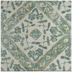 Klinker Retro Blanco Bergenia Encaustic 12-3/4 in. x 12-3/4 in. Ceramic Floor and Wall Quarry Tile