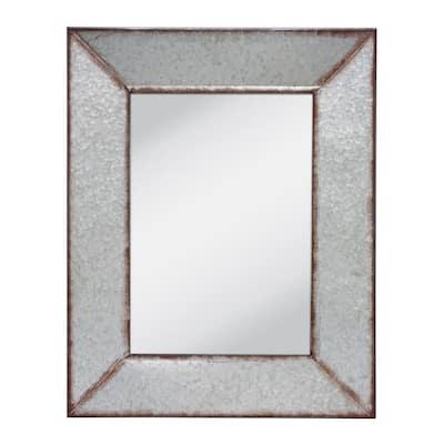 Medium Rectangle Silver Art Deco Mirror (27.95 in. H x 22.047 in. W)