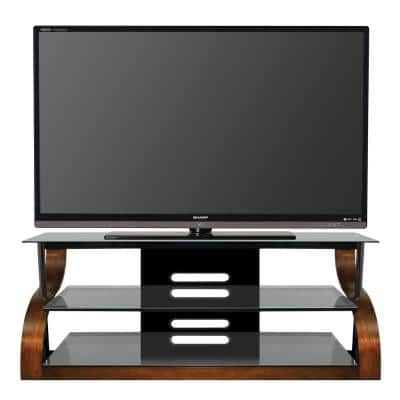 65 in. Vibrant Espresso Glass TV Stand Fits TVs Up to 73 in. with Cable Management