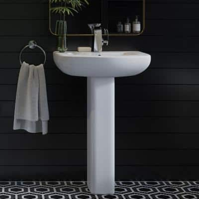 Chateau Pedestal Bathroom Sink Round Single Faucet Hole in White