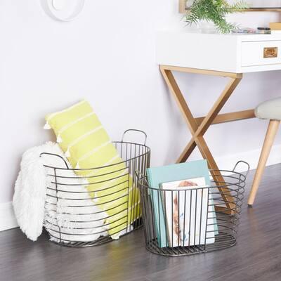 Silver Contemporary Storage Baskets Iron