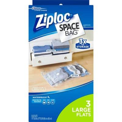 Large Plastic Flat Space Bag, 3 per Pack (Case of 3)