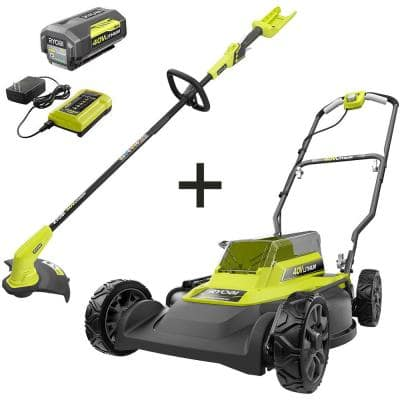 18 in. 40-Volt 2-in-1 Lithium-Ion Cordless Battery Walk Behind Push Mower and Trimmer - 4.0 Ah Battery/Charger Included