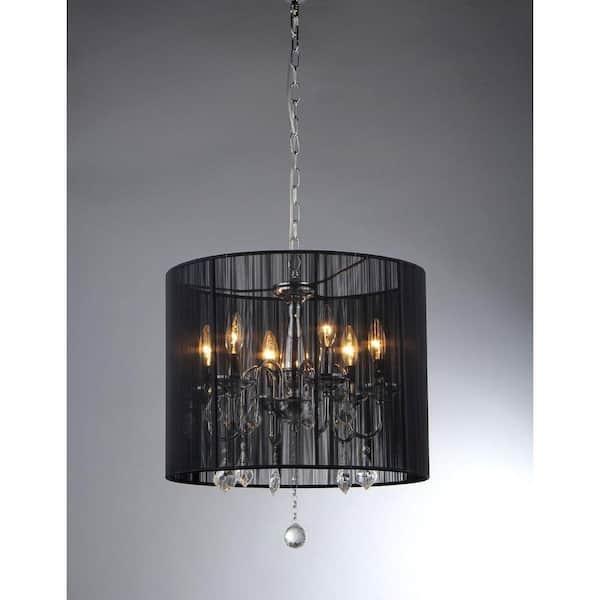 Warehouse Of Sylvia 6 Light, Black Chrome Crystal Chandelier