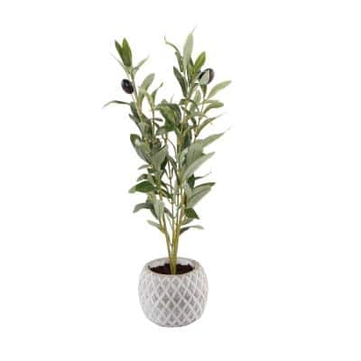 14 in. Faux Olive Branch in 4 in White Pineapple Pattern Cement Pot