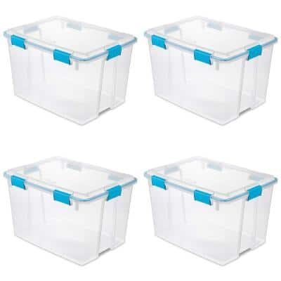 80 Qt. Plastic Home Storage Gasket Box Container in Clear (4-Pack)