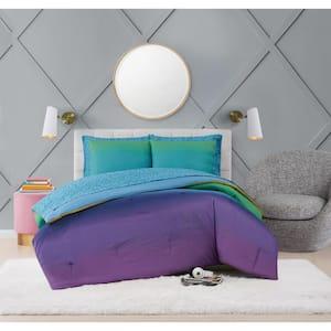 Mermaid Ombre 7-Piece Multicolor Microfiber Full Bed Ensemble