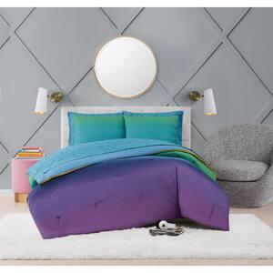 Mermaid Ombre 7-Piece Multicolor Microfiber Queen Bed Ensemble
