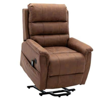 Deluxe Chocolate Brown Palomino Fabric Two Motor Lift and Massage Chair with Heat Therapy