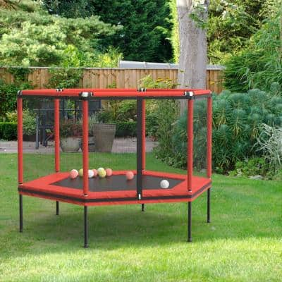60 in. Round Backyard Trampoline Outdoor with Outdoor Safety Net