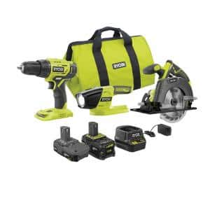 ONE+ 18V Lithium-ion Cordless 3-Tool Combo Kit with (1) 4.0 Ah Battery, (1) 1.5 Ah Battery, Charger, and Bag