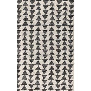 Aisha Moroccan Triangle Geometric Cream/Black 5 ft. x 8 ft. Area Rug