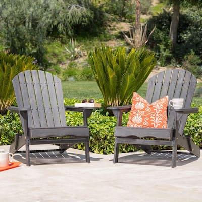Obadiah Dark gray Folding Wood Adirondack Chair (2-Pack)