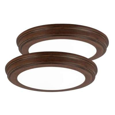 13 in. Brown Wood Color Changing LED Ceiling Flush Mount (2-Pack)