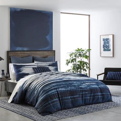 Shibori Print 3-Piece Navy Blue Striped Cotton Full/Queen Duvet Cover Set