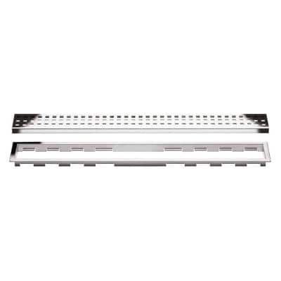 Kerdi-Line Chrome 31-1/2 in. Perforated Grate Assembly with 3/4 in. Frame