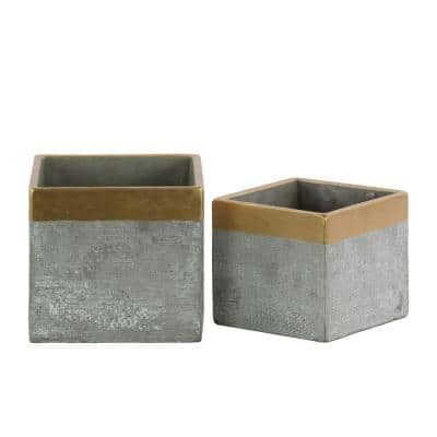 Gray Square Cemented Flower Pot with Gold Banded Rim Top (Set of 2)