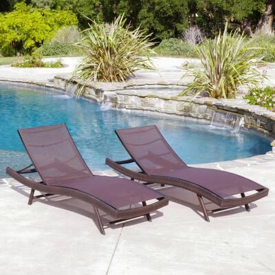 Jordan Multi Brown 2-Piece Wicker Outdoor Chaise Lounge