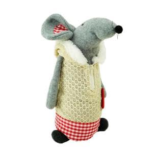 Northlight 17 In Standing Boy Mouse In Plaid Dress Christmas Table Top Figure 32275409 The Home Depot