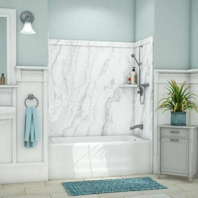 Elite 32 in. x 60 in. x 60 in. 9-Piece Easy Up Adhesive Tub Surround in Calypso