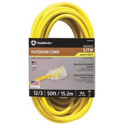 50 ft. 12/3 SJTW Hi-Visibility Outdoor Heavy-Duty Extension Cord with Power Light Plug