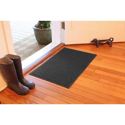 Aqua Shield Squares 23 in. x 35 in. PET Polyester Doormat Charcoal