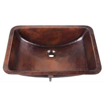 Curie 21 in. Undermount Handmade Solid Copper Bathroom Sink with in Aged Copper