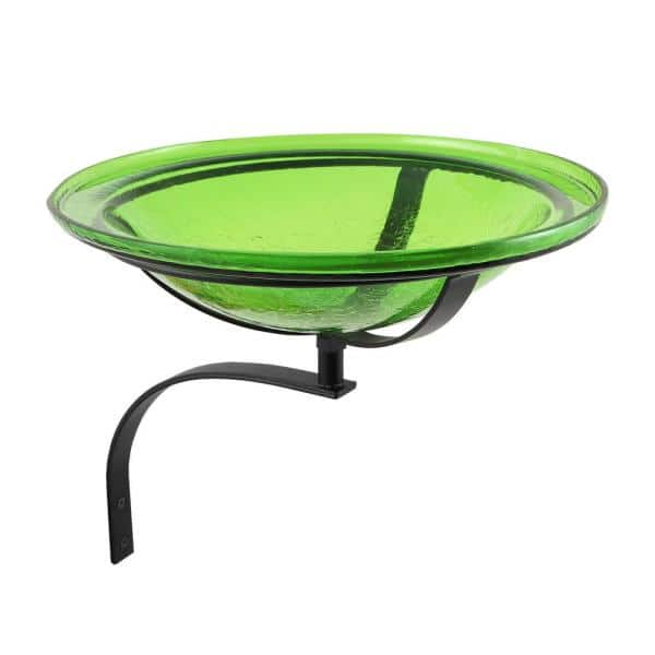 Achla Designs 12 5 In Dia Fern Green Achla Designs Reflective Crackle Glass Birdbath Bowl With Wall Mount Bracket Cgb 05fg Wm The Home Depot