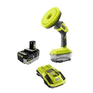 ONE+ 18V Cordless Power Scrubber with HIGH PERFORMANCE 4.0 Ah Battery and Charger Kit