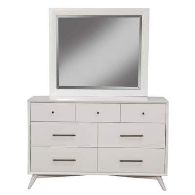 Flynn Mid Century Modern 7-Drawer Dresser, White