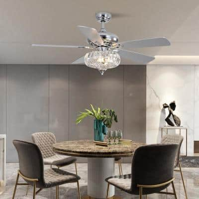 52 in. Indoor LED Chrome Crystal Ceiling Fan with 5 Reversible Blades, Crystal Fandelier with Remote