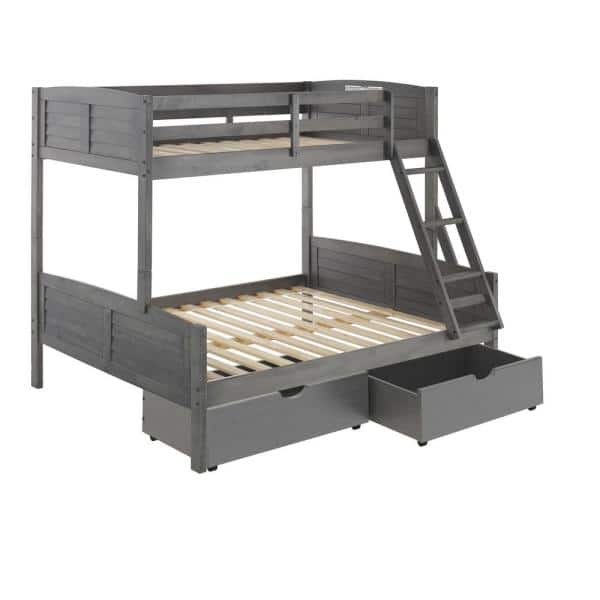 Donco Kids Antique Grey Twin and Full Louver Bunk Bed with Dual Under Bed Drawers | The Home Depot