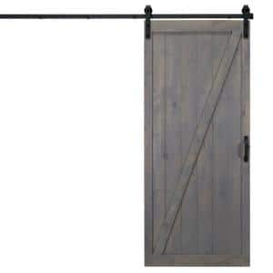 Dogberry Collections 36 In X 84 In Herringbone Ash Gray Alder Wood Interior Sliding Barn Door Slab With Hardware Kit D Herr 3684 Gash None Hard The Home Depot