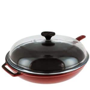 French Enameled 11 in. Cast Iron Frying Pan in Red with Glass Lid and Helper Handle