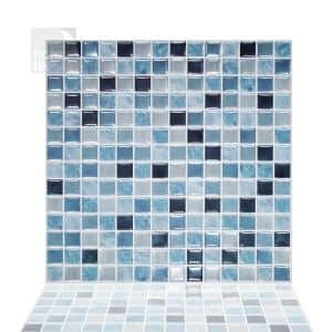 10-sheets Square Sea Breeze 12 in. x 12 in. Peel and Stick Self-Adhesive Mosaic Wall Tile Backsplash 10 sq.ft. / pack