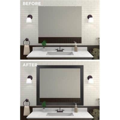 Decorative 42 in. x 36 in. Single Mirror Framing Kit for Bathrooms in Espresso with Flat Frame